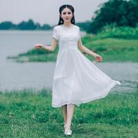 夏季新款女装短袖连衣裙宽松文艺棉麻拼接复古盘扣中长连衣裙