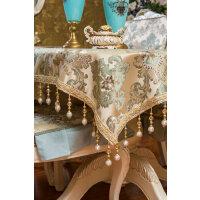 欧式餐桌布 吊珠尊贵款 高端大气 茶几布 台布 长方形盖布