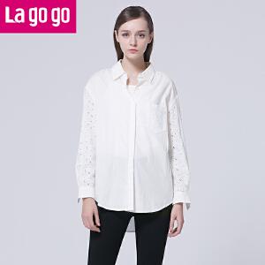 Lagogo/拉谷谷2016年春季新款纯色翻领镂空长袖衬衫