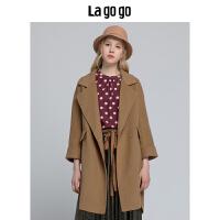 明星同款【年终狂欢节两件四折/叠满200-10优惠�弧�Lagogo2018冬季新款纯色毛呢大衣外套女长袖HCDD239
