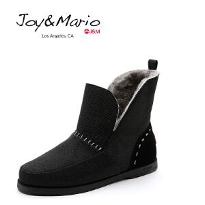 【低价秒杀】jm快乐玛丽女鞋冬季雪地靴女平底加绒保暖短靴短筒百搭女靴61768W