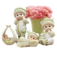 可爱吊脚娃娃摆件家居饰品 创意结婚礼物工艺品小摆设婚房装饰品 绿衣四个宝宝+粉色米果儿套装
