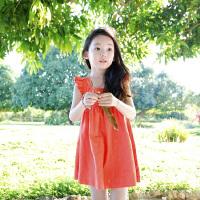 鸭鸭(YAYA)2018女童装无袖糖果色荷叶边长款连衣裙中大儿童公主裙Q-G60314