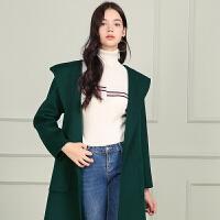 冬装新品 100%纯羊毛呢外套连帽双面呢大衣女D749610D00