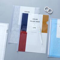 可爱简约透明抽杆夹 A4学生用插页文件袋拉杆夹小清新书夹子
