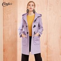 【3折到手价:341】紫色毛呢大衣女冬季新款韩版宽松连帽赫本中长羊毛双面呢外套