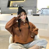 冬季卫衣加绒加厚女学生韩版学院风宽松Polo领外套长袖上衣潮原宿