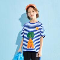 【2件3折:49】巴拉巴拉旗下男童短袖t恤儿童海魂衫卡通条纹上衣2020夏装新款男