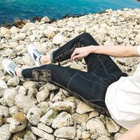 迷彩牛仔裤男裤子韩版潮流学生男生小脚裤男士哈伦裤春季2018新款