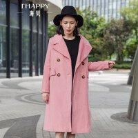 海贝2017冬装新款女装通勤西装领双排扣中长款长袖羊毛呢大衣外套