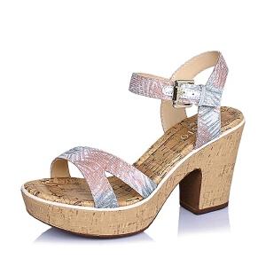 【鞋靴超级品类日】BASTO/百思图夏季专柜同款印花布粗跟女凉鞋TGH01BL6