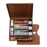 泰伦斯凡高26色油画颜料木盒套装 画材礼品礼盒
