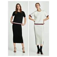 春装新款撞色饰边短袖针织衫修身显瘦中长裙套装女