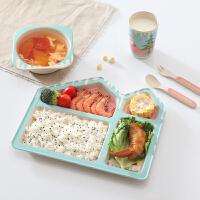 婴儿家用饭碗勺子吃饭碗竹纤维儿童餐具套装宝宝辅食分格餐盘