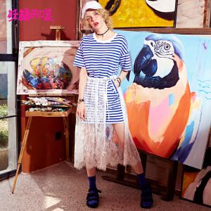 【低至1折起】妖精的口袋ins超火裙子新款宽松条纹蕾丝短袖连衣裙女