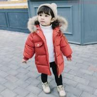 女宝宝冬装棉衣外套2018新款中长款婴幼儿女童加厚羽绒棉棉袄 砖红色