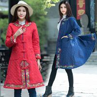 冬装新款民族风复古刺绣棉衣大码显瘦中长款长款立领A字外套