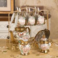 14件欧式茶具陶瓷咖啡具骨瓷咖啡杯套装英式整套家用下午花茶杯具 16件蝴蝶咖啡套具【礼盒】 默认送垫子 14件