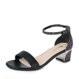 Belle/百丽夏季专柜同款打蜡小牛皮革女凉鞋BGF37BL6