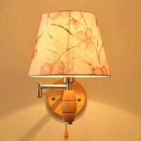 【满199-100】创意木灯 木艺楼梯 玄关过道灯 卧室床头灯 玻璃实木壁灯YX-LMD2106
