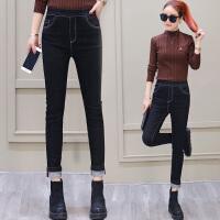加绒牛仔裤女2017冬季新款韩版显瘦紧身小脚铅笔裤黑色加厚长裤子 黑色