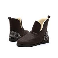 jm快乐玛丽冬季平底套脚女士休闲保暖加绒加厚短靴雪地靴子61865W