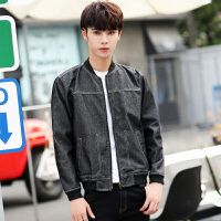 韩国明星同款复古水洗牛仔外套男青年港风修身帅气机车短款夹克潮