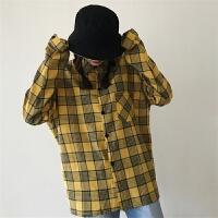 韩国同款复古百搭抢镜黄格子长袖衬衫 18ss男女款