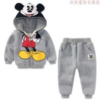 男童冬装套装加绒2018新款宝宝外出保暖衣服1一3-5岁儿童两件套潮