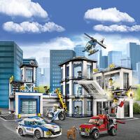乐高积木城市系列警系局警察局拼装男孩子益智力儿童玩具车动脑