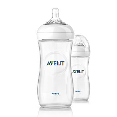 美国直邮 Avent 新安怡 自然系列 聚丙烯奶瓶 11oz 2个装  海外购 硅胶奶嘴  安全卫生  宝妈优选