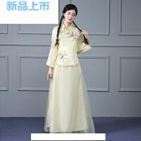 民国学生装古筝舞蹈演出服影楼艺术写真照古装中式礼服表演服装
