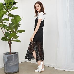 【一口价152元】黑色蕾丝裙女2018夏装新款韩版假两件碎花雪纺连衣裙开叉长裙子仙60006530