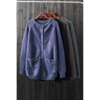 秋冬热卖毛毛外套加厚圈圈毛上衣针织毛线拼接长袖毛绒外套女DZ