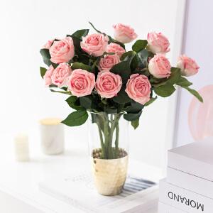 奇居良品 手感保湿玫瑰花仿真花配金箔铜制玻璃花瓶装饰花艺摆件