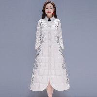冬装女民族风轻薄棉袄超长款棉衣过膝羽绒外套