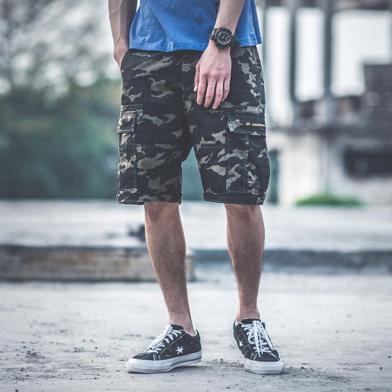 迷彩工装短裤男潮夏天嘻哈宽松街头潮牌学生ins休闲五分裤 发货周期:一般在付款后2-90天左右发货,具体发货时间请以与客服协商的时间为准