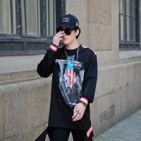新款欧美高街男士韩版宽松套头卫衣男装秋款个性人物印花潮流夜店