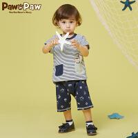 【3件3折 到手价:137】Pawinpaw卡通小熊童装夏款男宝宝圆领条纹休闲套装