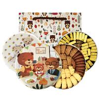 珍妮曲奇小熊饼干 咖啡牛油四味640g手工小花+八味440g手工经典饼干礼盒组合套餐