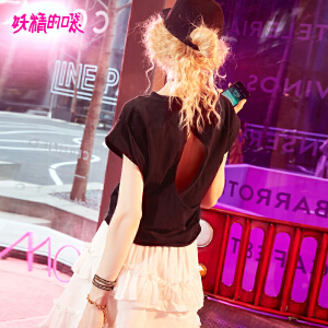 【秒杀价:66】【再享满200减20券】妖精的口袋chic季上衣新款纯棉宽松后背镂空欧货t恤ins超火短袖女