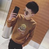 2018潮流小码号套头卫衣男青少年码圆领麂皮绒外套春装上衣潮