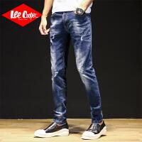 Lee Cooper破洞牛仔裤男夏季新款潮流百搭舒适长裤子弹力直筒宽松男士牛仔裤