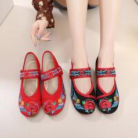 年春夏新款原创中国风复古手工绣花民族风搭扣平跟女鞋单鞋子
