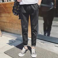 新款秋冬新男士黑色简约款修身牛仔裤铅笔裤潮休闲裤锥形小脚长裤
