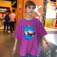 韩国INS同款玫紫色复古老爷车印花短袖 18ss男女款