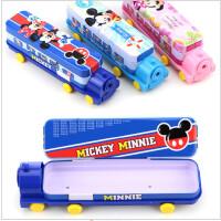 包邮迪士尼文具盒小学生笔盒男童创意汽车造型铅笔盒铁盒儿童米奇双层汽车造型文具盒