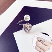 饰品时尚珍珠水晶戒指食指关节戒日韩个性潮人百搭饰品女指环 桔色 R055单珠闪钻银色
