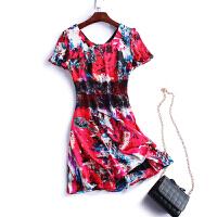 夏装新高档缎连衣裙修身显瘦短袖印花女连衣裙