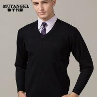黑色V领工作羊毛衫职业装鸡心领冬季毛衣男针织打底衫厚男士西装